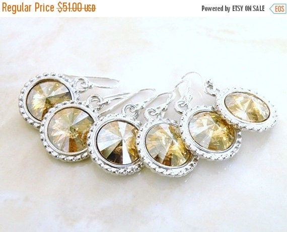27% Off Sale Swarovski Gold Earrings Crystal Rivoli Sterling Silver of 3 pairs