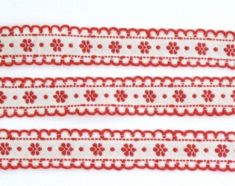 "Red & White Scalloped Flower and Dot Jacquard Ribbon Vintage Sewing Trim,  Tyrolean Trim 5/8"" wide - 3 yards - Millinery, Haberdashery"