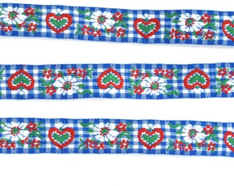 "Blue & White Gingham Floral Heart Vintage Jacquard Ribbon 1"" Wide Sewing Trim - 3 yards - Sewing Supply, Sewing Trim, Cotton Jacquard"