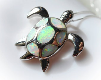 Sea Turtle Necklace created white fire opal charm necklace 925 sterling silver tortoise nature nautical Jewelry for women pendant rainbow