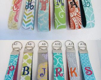 ONE Letter Monogram Key Chain, Personalized Key Chain, Wristlet Keychain, Key Holder, Teacher Gift, Teacher Appreciation Gift Shower Gift