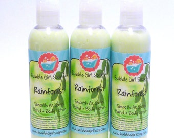 ON SALE Rainforest Hand and Body Lotion 8 Oz. Smooth As Satin Lotion by Bubble Girl Soap Co.