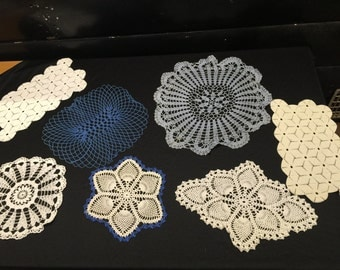 Set of 7 Vintage Hand Crochet Blue and White Doilies (Variety of Sizes & Styles)
