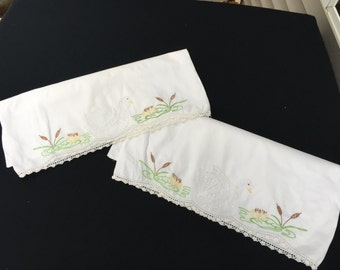 Pair of Vintage White Cotton Pillowcases with Embroidery Swans and White Crochet Trim
