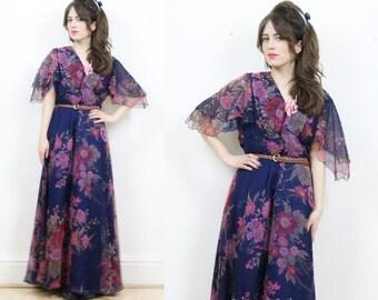 70s boho maxi dress, floral maxi dress, floaty dress, boho floral dress, 70s maxi dress, hippie dress, summer dress, hippie floral dress