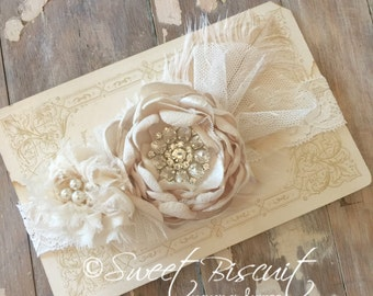 Ivory and Khaki Headband