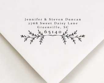 Return Address Stamp - Address Stamping - Wedding Inking Stamp - Address Stamp Inker - Addressing Stamp - Laurel Leaf - Rustic Design (401)