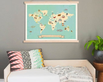 Global Compassion World Map Wall Art,24x18 or 36x24 Print + Wood Frame Kit,Kids Animal World Map,Gender Neutral Nursery