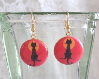 Sitting Black Cat with Moon on Orange Background Altered Art Earrings
