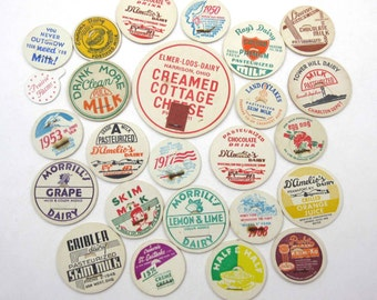 Assorted Vintage Milk Bottle Caps Set of 25 Lot F