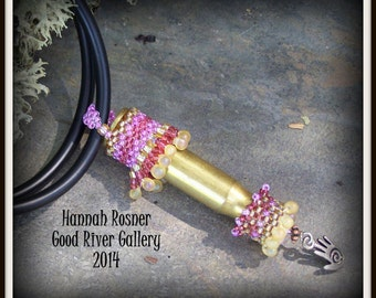 FINAL CLEARANCE Steampunk Rifle Casing Beaded Pendant peyote stitch neckpiece by Hannah Rosner