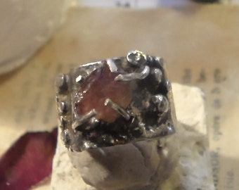 Distressed Granulated Reticulated Sterling and Pink Tourmaline Ring