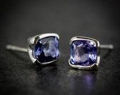 Tanzanite and Sterling Silver Studs, 5mm Cushion Cut Tanzanite Studs, Square Tanzanite and Silver Earrings, Purple Blue Gemstone Earrings