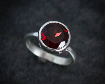 Garnet Solitaire Ring, Huge Gemstone in Thick Walled Sterling Silver Bezel, Recycled Sterling Silver Jewelry