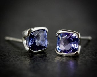 Tanzanite and Sterling Silver Studs, 5mm Cushion Cut Tanzanite Studs, Square Tanzanite and Silver Earrings, Purple Blue Gemstone Earrings