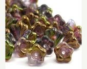 20% Shop Closing Czech Glass Beads Baby Bell Flowers 4x6mm Luster Amethyst Crystal (50) CZP221