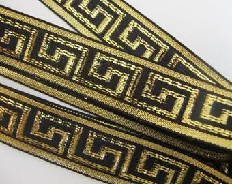 3 yards  GREEK KEY Jacquard trim in gold on black. 1 inch wide. 878(6)-C