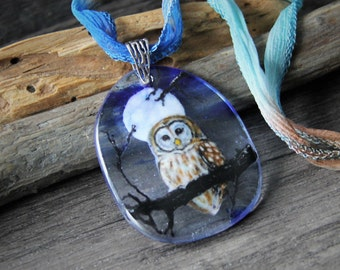 Owl and the moon necklace - fused glass pendant