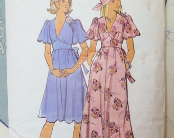 Vintage 1970's Boho Dress Pattern Junior Petite Size 5 Vintage Butterick 4162 Flared Sundress Butterfly Sleeves Vneck Bust 31 Maxi Dress
