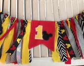 Mickey or Minnie Mouse Birthday Banner - High Chair Red Yellow Black First Second