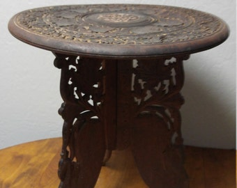 Hand Carved Side Folding Wood Table (2) Pieces, Mediterranean Moroccan Style, Hobo, Indian, Occasional Table, Lamp Table, Plant Stand