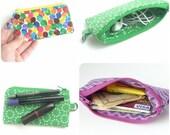 mini lipstick make up pouch. zipper change purse wristlet. earbud pouch card holder. small teacher gift idea. inhaler pouch