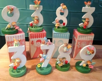 Sevi Italy Vintage Wooden Birthday Number Cake Decoration Number 3, 7, 8 or 9