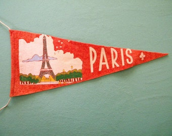 Vintage Paris France Felt Pennant Small Sized Souvenir with Eiffel Tower