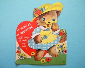 Vintage Valentine's Day Card Kitty Cat with Moveable Hat Large Die Cut