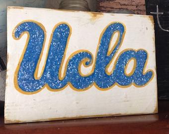 School College Spirit Vintage UCLA blue & gold Sign Reclaimed Wood Sign Sport TeAm Football Cheerleader Primitive alumni graduation