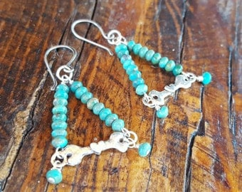 Sterling Silver DOG BONE Earrings - Turquoise Earrings - Dog Lover Jewelry - Dog Rescue - Rustic Jewelry