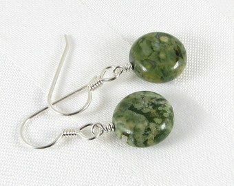 Rhyolite Coins and Argentium Sterling Silver Earrings