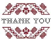 Thank You cross stitch pattern - instant download
