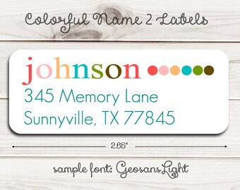 Colorful Name II Return Address Labels