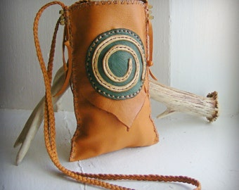 SPIRALS Neck Pouch, deerskin leather Cell Phone pouch, Medicine Bag, spirit pouch, wicca shaman talisman totem, sunglass case, Primitive