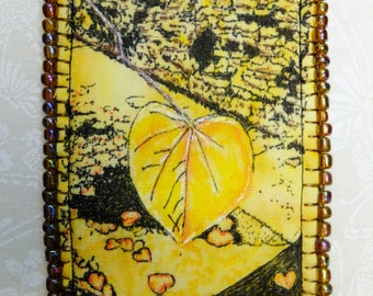 Tiny Art Quilt ATC Yellow Heart Shaped Leaves in the Autumn