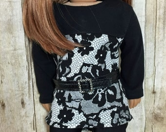 SALE 18 inch Doll Clothes High Low Lacy Black Outfit