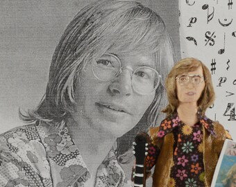 John Denver-  Doll Miniature-  Fan Art- Character Miniature- Singer Musician- Uneek Doll Designs