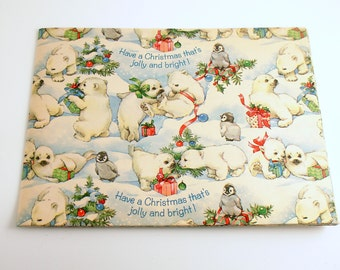 Vintage Christmas Gift Wrap Wrapping Paper Polar Bear Penguins