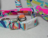 Handcrafted Lilly Pulitzer Besame Mucho Print Dog Collar & Leash Set