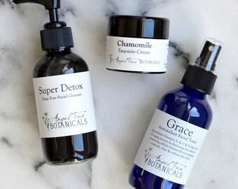 The SpaGoddess 3-Step Organic Skincare Set - Natural Facial Care Regimen by Angel Face Botanicals
