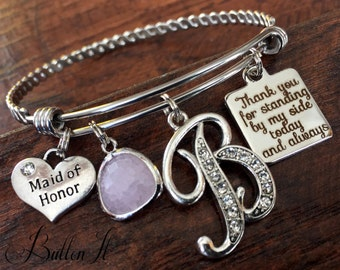 Maid of honor gift, matron of honor, BRIDESMAID gift, rehearsal dinner gift, INITIAL, will you be my maid of honor, standing by my side