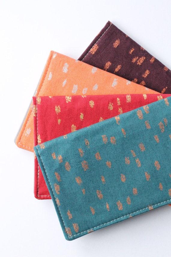 Fabric Checkbook Cover ~ Fabric checkbook cover in gold dot jewel tones