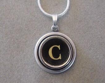 Typewriter key jewelry necklace BLACK LETTER C  Typewriter Key Necklace - Initial C serif font Initial Necklace C