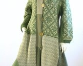 ON SALE Women's Upcycled Sweater Coat/ Cream and Green/ Size Medium/ 10/12