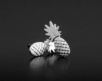 Pineapple Silvery Stud Earring Post Finding (ET052B)