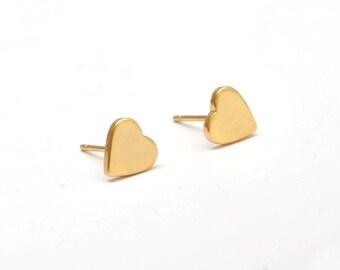 Heart Golden Stainless Steel Stud Earring Post Finding (E9789)