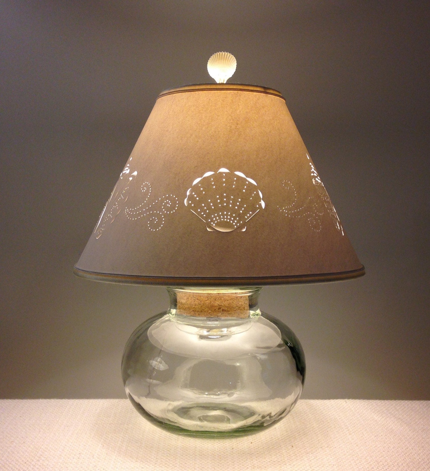 recycled glass lamp base seashell lampshade fillable. Black Bedroom Furniture Sets. Home Design Ideas