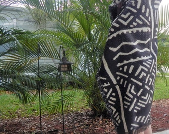Black and White Mudcloth Throw or Tapestry