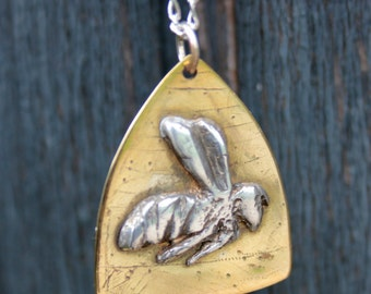 Silver Bee in Hive necklace